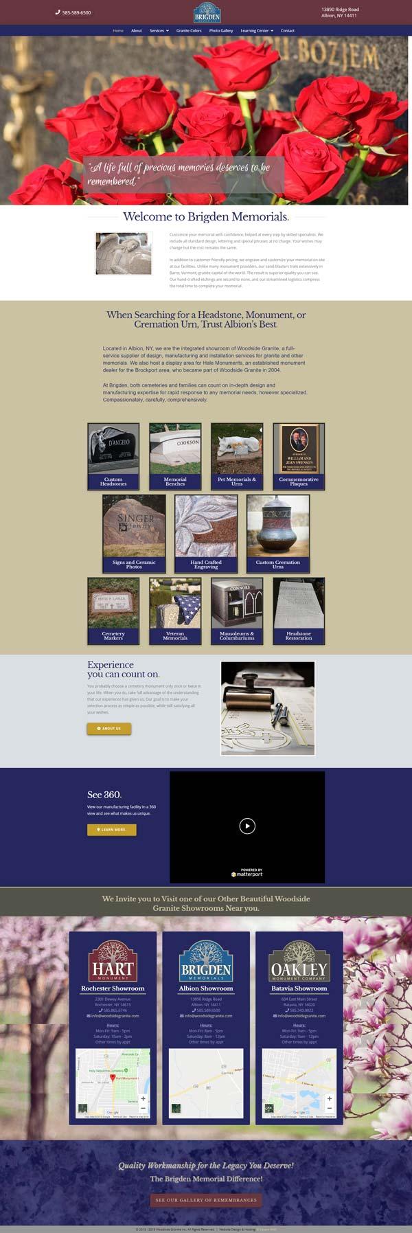 Brigden Memorials- Monument Company home page screen print